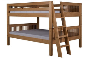 Camaflexi Full over Full Low Bunk Bed with Twin Trundle - Mission Headboard - Lateral Angle Ladder - Natural Finish - C2211L_TR-Bunk Beds-HipBeds.com