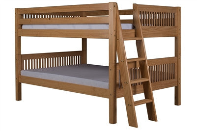 Camaflexi Full over Full Low Bunk Bed with Twin Trundle - Mission Headboard - Lateral Angle Ladder - Natural Finish - C2211L_TR