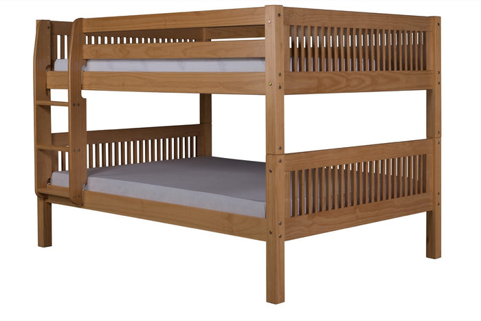 Camaflexi Full over Full Low Bunk Bed - Mission Headboard - Natural Finish - C2211_NT