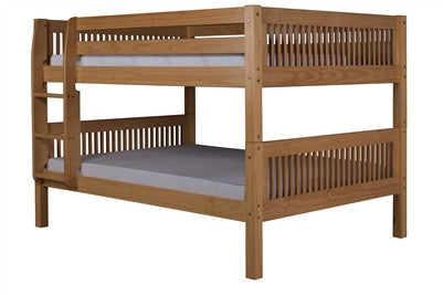 Camaflexi Full over Full Low Bunk Bed with Twin Trundle - Mission Headboard - Natural Finish - C2211_TR