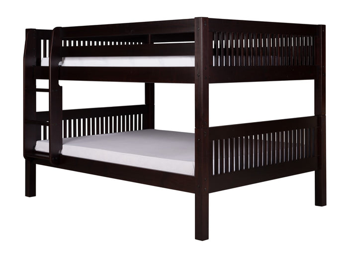 Camaflexi Full over Full Low Bunk Bed - Mission Headboard - Cappuccino Finish - C2212_CP