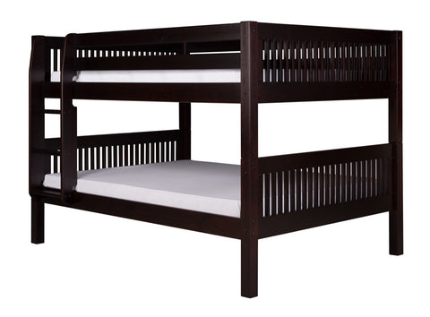 Camaflexi Full over Full Low Bunk Bed - Mission Headboard - Cappuccino Finish - C2212_CP-Bunk Beds-HipBeds.com