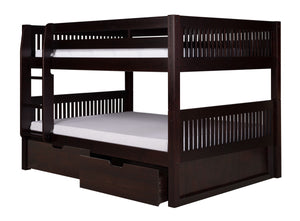 Camaflexi Full over Full Low Bunk Bed with Drawers - Mission Headboard - Cappuccino Finish - C2212_DR-Bunk Beds-HipBeds.com