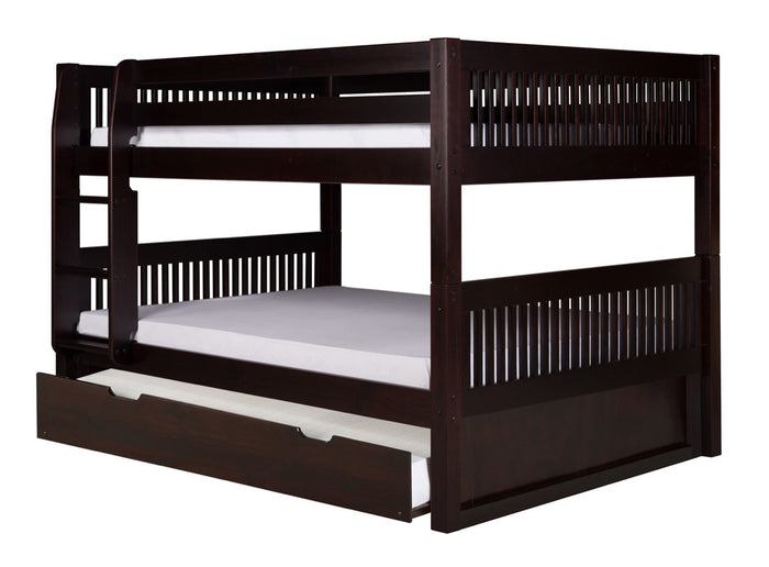 Camaflexi Full over Full Low Bunk Bed with Twin Trundle - Mission Headboard - Cappuccino Finish - C2212_TR