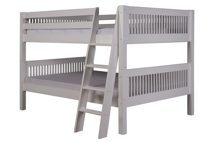 Camaflexi Full over Full Low Bunk Bed - Mission Headboard - Angle Ladder - White Finish - C2213A_WH