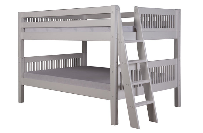 Camaflexi Full over Full Low Bunk Bed - Mission Headboard - Lateral Angle Ladder - White Finish - C2213L_WH