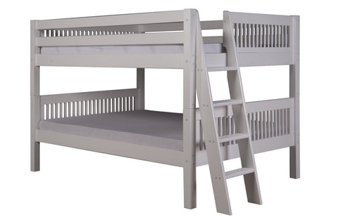 Camaflexi Full over Full Low Bunk Bed - Mission Headboard - Lateral Angle Ladder - White Finish - C2213L_WH-Bunk Beds-HipBeds.com