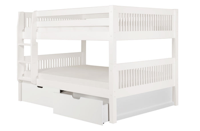 Camaflexi Full over Full Low Bunk Bed with Drawers - Mission Headboard - White Finish - C2213_DR