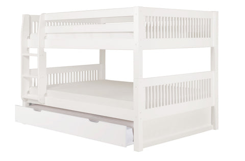 Camaflexi Full over Full Low Bunk Bed with Twin Trundle - Mission Headboard - White Finish - C2213_TR-Bunk Beds-HipBeds.com