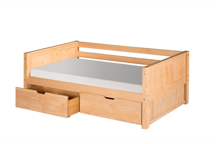Camaflexi Day Bed with Drawers - Panel Headboard - Natural Finish - C221_DR