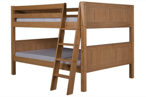 Camaflexi Full over Full Low Bunk Bed - Panel Headboard - Angle Ladder - Natural Finish - C2221A_NT-Bunk Beds-HipBeds.com