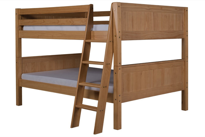 Camaflexi Full over Full Low Bunk Bed - Panel Headboard - Angle Ladder - Natural Finish - C2221A_NT