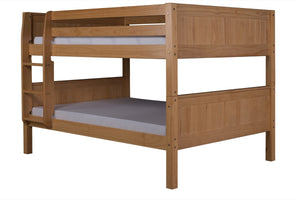 Camaflexi Full over Full Low Bunk Bed - Panel Headboard - Natural Finish - C2221_NT-Bunk Beds-HipBeds.com