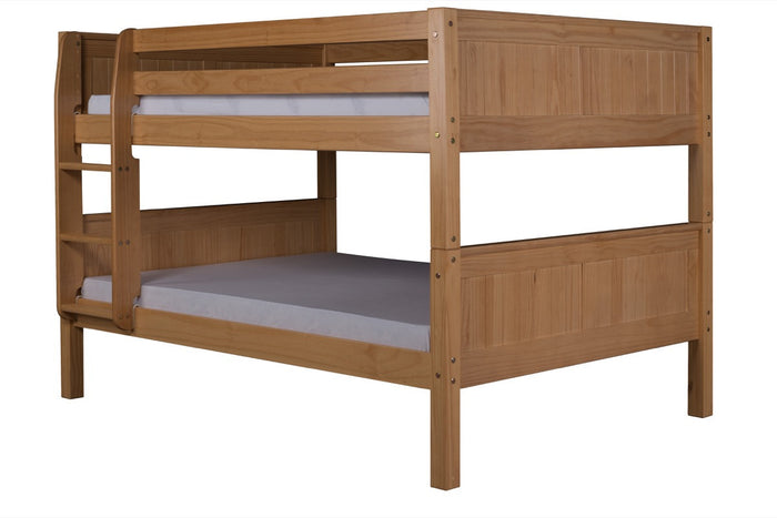 Camaflexi Full over Full Low Bunk Bed - Panel Headboard - Natural Finish - C2221_NT