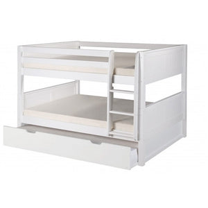 Camaflexi Full over Full Low Bunk Bed with Twin Trundle - Panel Headboard - Natural Finish - C2221_TR-Bunk Beds-HipBeds.com