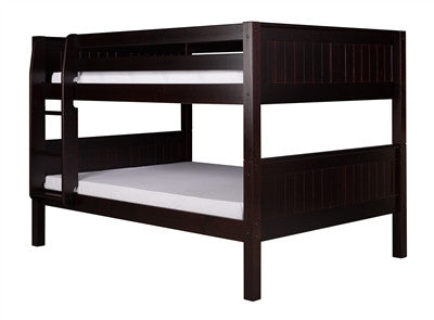 Camaflexi Full over Full Low Bunk Bed with Twin Trundle - Panel Headboard - Cappuccino Finish - C2222_TR
