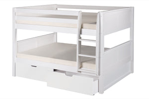 Camaflexi Full over Full Low Bunk Bed with Drawers - Panel Headboard - White Finish - C2223_DR-Bunk Beds-HipBeds.com