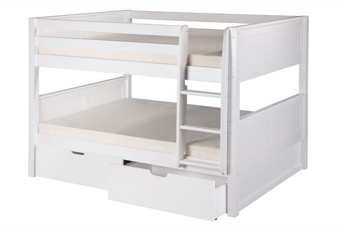 Camaflexi Full over Full Low Bunk Bed with Drawers - Panel Headboard - White Finish - C2223_DR