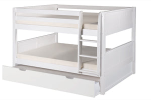 Camaflexi Full over Full Low Bunk Bed with Twin Trundle - Panel Headboard - White Finish - C2223_TR-Bunk Beds-HipBeds.com