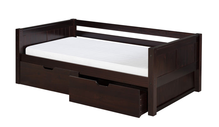 Camaflexi Day Bed with Drawers - Panel Headboard - Cappuccino Finish - C222_DR