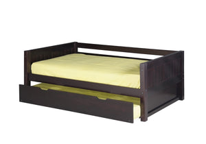 Camaflexi Day Bed with Twin Trundle - Panel Headboard - Cappuccino Finish - C222_TR-Platform Beds-HipBeds.com