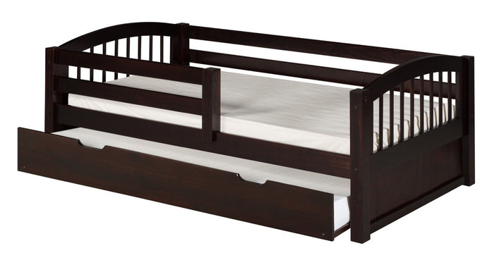 Camaflexi Day Bed with Front Guard Rail & Twin Trundle - Arch Spindle Headboard - Cappuccino Finish - C302_TR