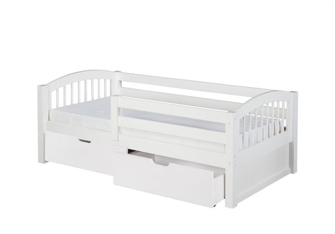 Camaflexi Day Bed with Front Guard Rail & Drawers - Arch Spindle Headboard - White Finish - C303_DR-Day Beds-HipBeds.com