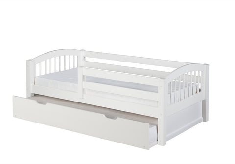 Camaflexi Day Bed with Front Guard Rail & Twin Trundle - Arch Spindle Headboard - White Finish - C303_TR-Day Beds-HipBeds.com