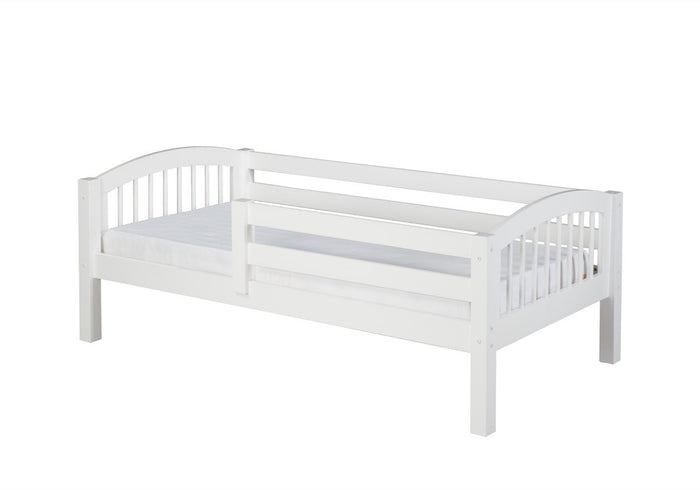Camaflexi Day Bed with Front Guard Rail - Arch Spindle Headboard - White Finish - C303_WH
