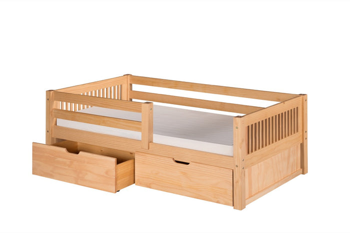 Camaflexi Day Bed with Front Guard Rail & Drawers - Mission Headboard - Natural Finish - C311_DR