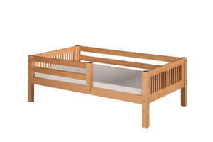 Camaflexi Day Bed with Front Guard Rail - Mission Headboard - Natural Finish - C311_NT-Platform Beds-HipBeds.com