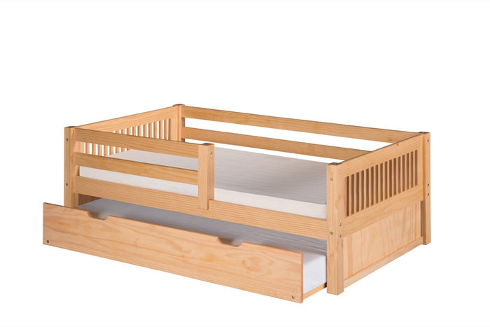Camaflexi Day Bed with Front Guard Rail & Twin Trundle - Mission Headboard - Natural Finish - C311_TR
