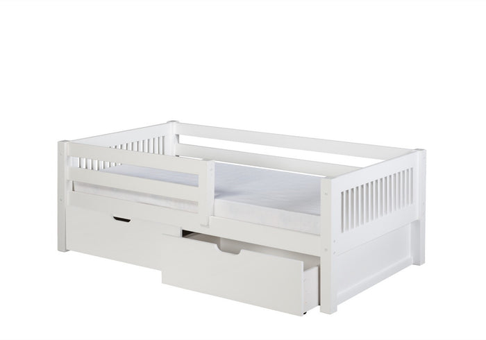 Camaflexi Day Bed with Front Guard Rail & Drawers - Mission Headboard - White Finish - C313_DR