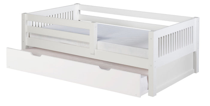 Camaflexi Day Bed with Front Guard Rail & Twin Trundle - Mission Headboard - White Finish - C313_TR