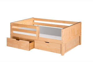 Camaflexi Day Bed with Front Guard Rail & Drawers - Panel Headboard - Natural Finish - C321_DR-Day Beds-HipBeds.com