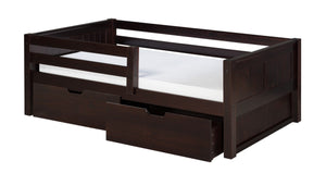 Camaflexi Day Bed with Front Guard Rail & Drawers - Panel Headboard - Cappuccino Finish - C322_DR-Day Beds-HipBeds.com