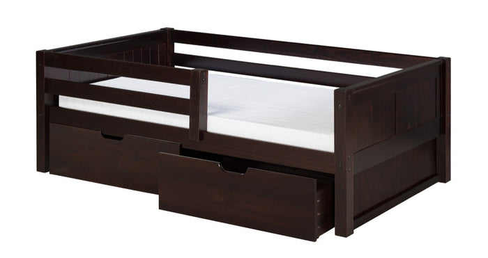Camaflexi Day Bed with Front Guard Rail & Drawers - Panel Headboard - Cappuccino Finish - C322_DR