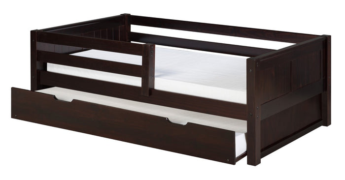 Camaflexi Day Bed with Front Guard Rail & Twin Trundle - Panel Headboard - Cappuccino Finish - C322_TR