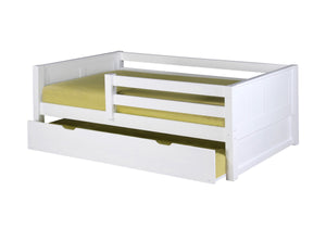 Camaflexi Day Bed with Front Guard Rail & Twin Trundle - Panel Headboard - White Finish - C323_TR-Platform Beds-HipBeds.com