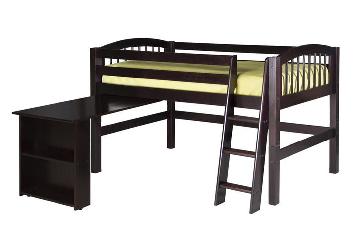 Camaflexi Low Loft Bed with Retractable Desk - Arch Spindle Headboard - Cappuccino Finish - C402D_CP
