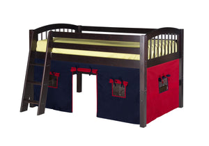 Camaflexi Low Loft Playhouse Bed - Arch Spindle Headboard - Cappuccino Finish - C402P_CP-Loft Beds-HipBeds.com