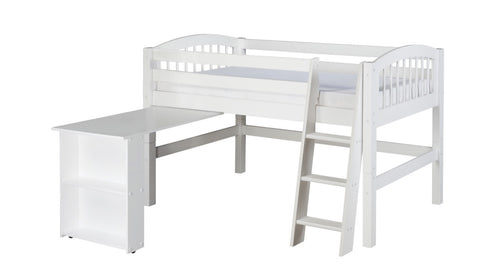 Camaflexi Low Loft Bed with Retractable Desk - Arch Spindle Headboard - White Finish - C403D_WH-Loft Beds-HipBeds.com