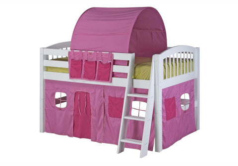Camaflexi Low Loft Playhouse Bed - Arch Spindle Headboard - White Finish - C403P_WH-Loft Beds-HipBeds.com