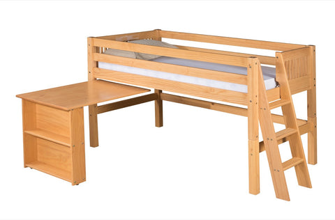 Camaflexi Low Loft Bed with Retractable Desk - Mission Headboard - Lateral Ladder - Natural Finish - C411DL_NT-Loft Beds-HipBeds.com