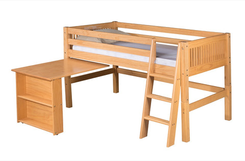 Camaflexi Low Loft Bed with Retractable Desk - Mission Headboard - Natural Finish - C411D_NT-Loft Beds-HipBeds.com