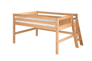 Camaflexi Full Low Loft Bed - Mission Headboard - Lateral Ladder - Natural Finish - C411LF_NT-Loft Beds-HipBeds.com