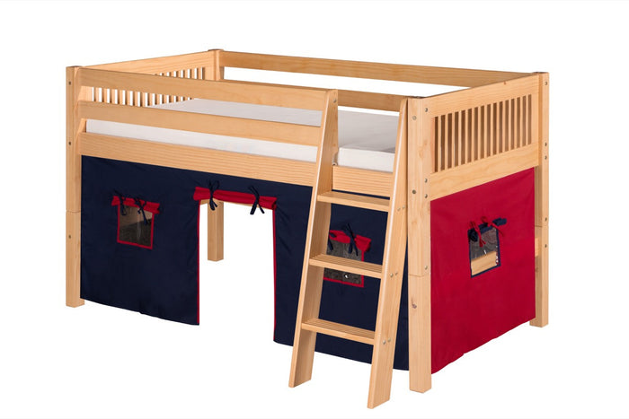 Camaflexi Low Loft Playhouse Bed - Mission Headboard - Natural Finish - C411P_NT