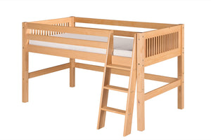 Camaflexi Low Loft Bed - Mission Headboard - Natural Finish - C411_NT-Loft Beds-HipBeds.com
