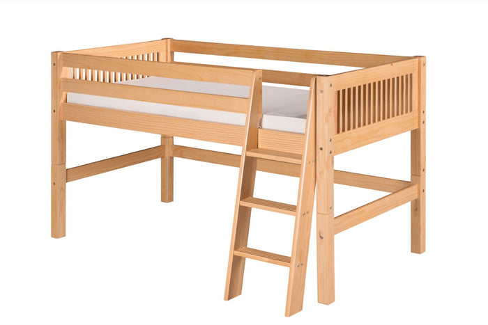 Camaflexi Low Loft Bed - Mission Headboard - Natural Finish - C411_NT