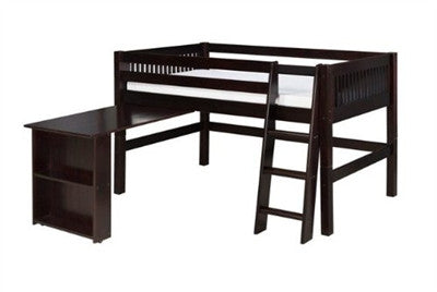 Camaflexi Low Loft Bed with Retractable Desk - Mission Headboard - Cappuccino Finish - C412D_CP-Loft Beds-HipBeds.com